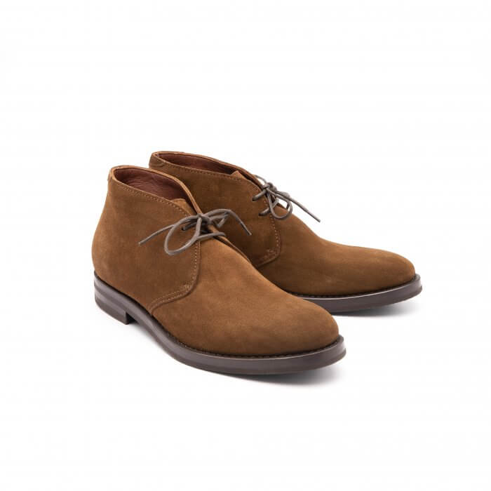 Two-colored oak suede ankle boot
