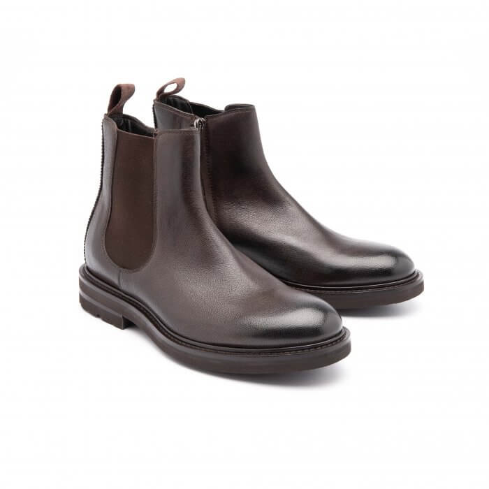 ankle boot with elastic in brown polished calfskin