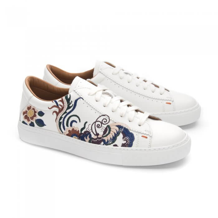 Leather sneakers with embroidery