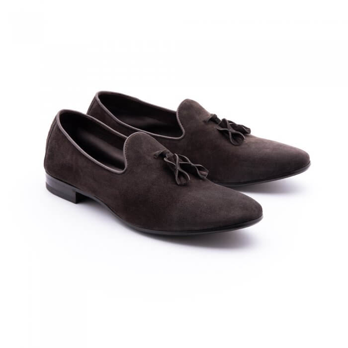 Smooth slipper with tassels in suede ebony