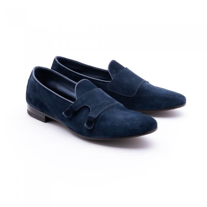 Smooth slipper with double buckle effect in navy blue suede